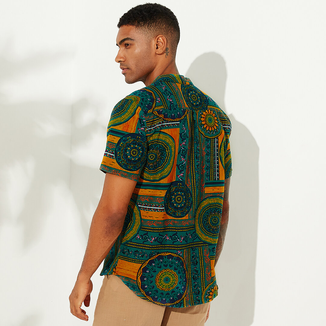 Men's African Style Loose Printing Casual T-shirts - 10