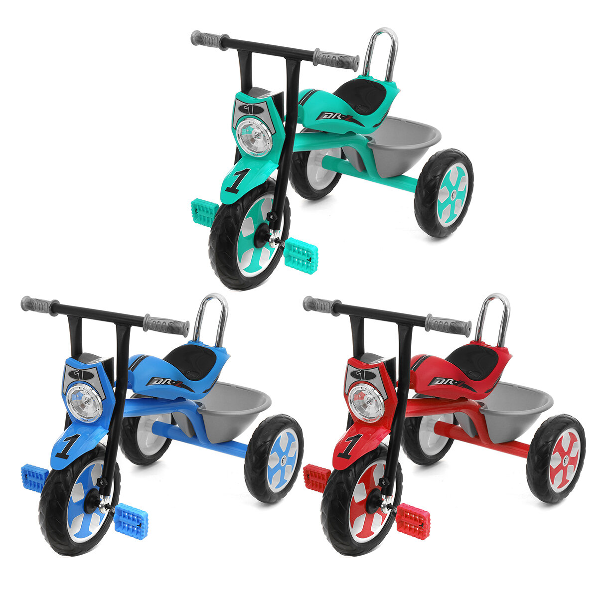 Baby Pedals Tricycle with Music Light&Basket Kids Toddler Walker Children Bicycle Outdoor Garden Bike for 2-5 Years Old