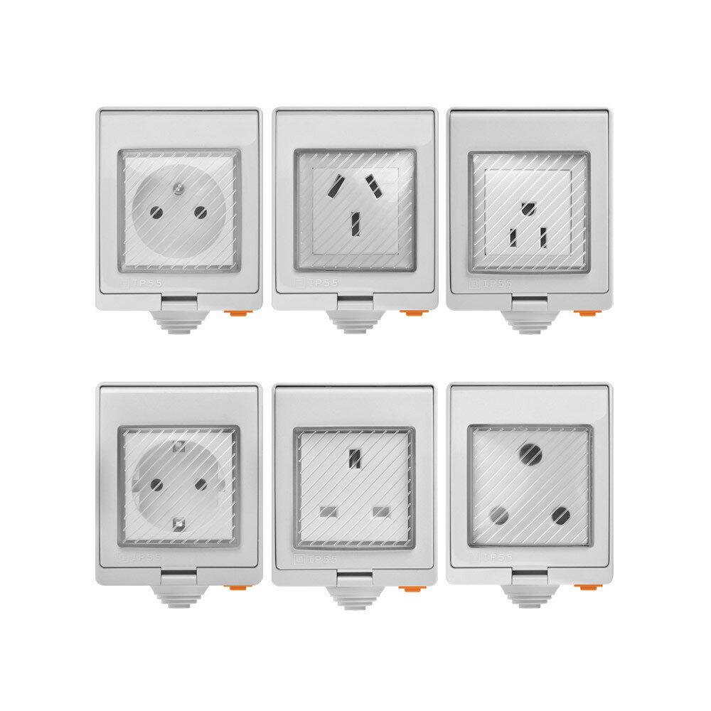 SONOFF® S55 Waterproof WIFI Smart Socket Switch UK/AU/US/FR/DE/ZA Multiple Version Wifi Socket Works With Alexa Google Home