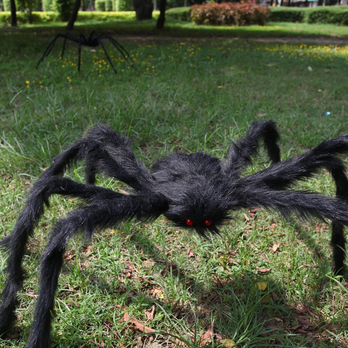 5FT/150cm Hairy Giant Spider Decorations Huge Halloween Outdoor Decor Toys for Party - 7