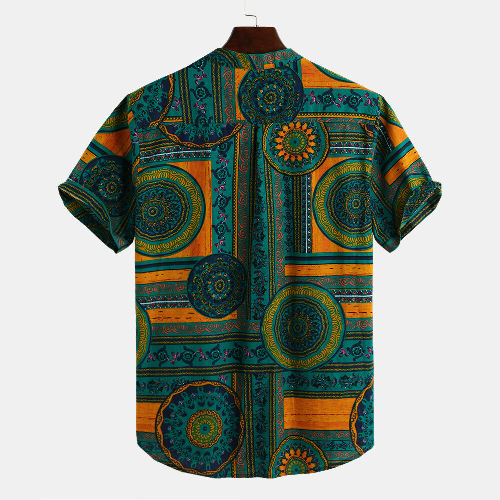 Men's African Style Loose Printing Casual T-shirts - 2