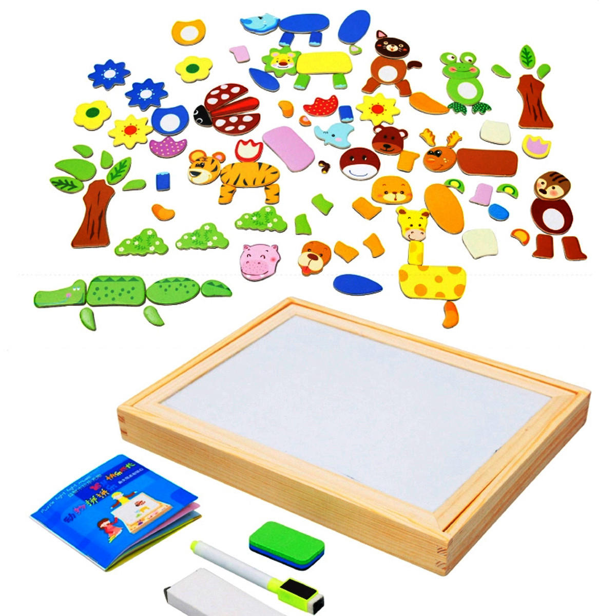 Kids Educational Learning Wooden Magnetic Drawing Board Jigsaw Puzzle Toys - 6
