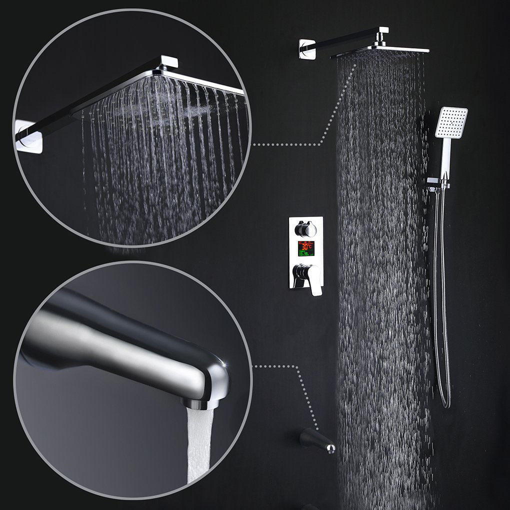 KCASA KC-SH604 Top Spray Thickened Pressurized Rotatable Rainfall Shower Head Square Stainless Steel Top Spray Head - 2