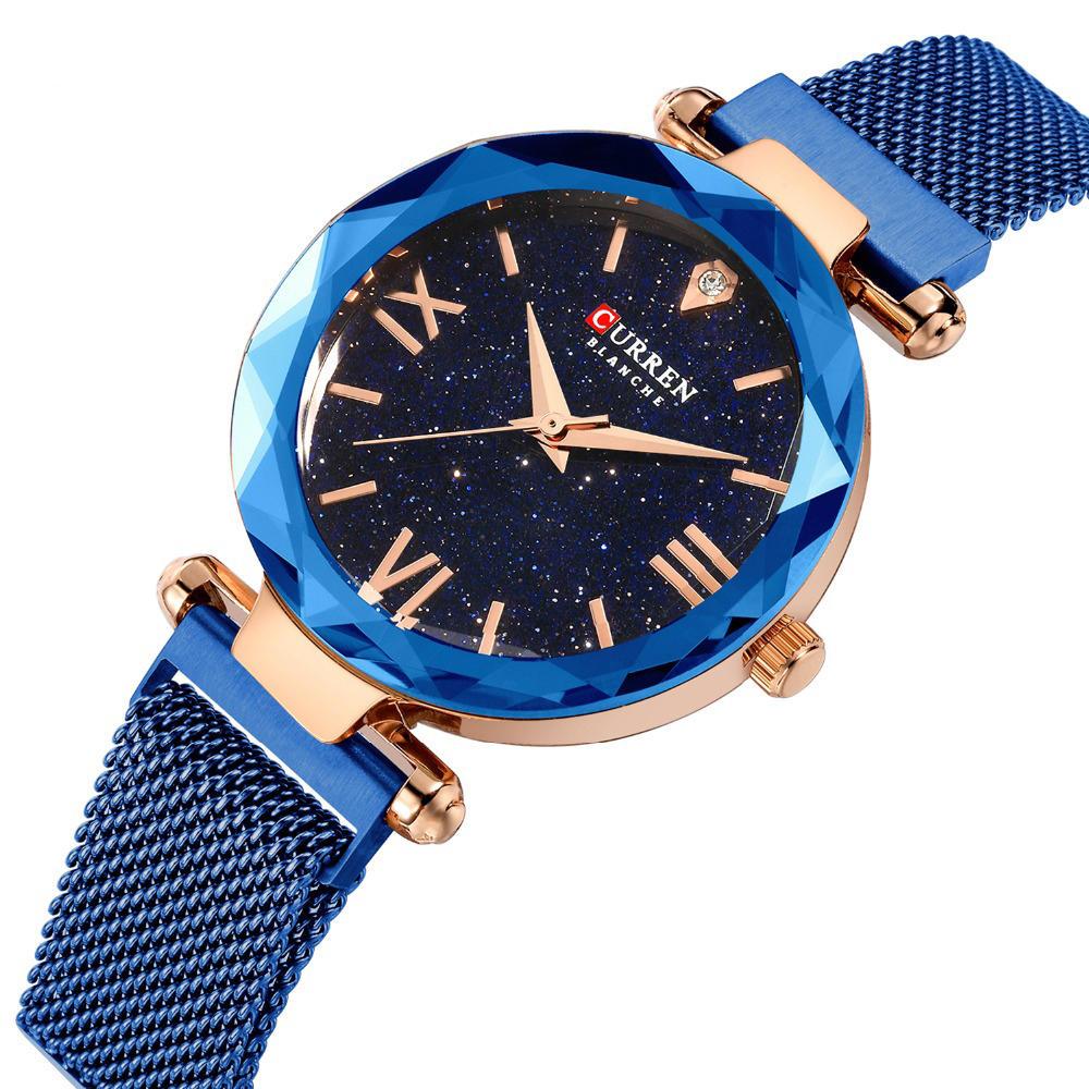 CURREN 9063 Elegant Design Romantic Sky Dial Show Women Wrist Watch Full Steel Quartz Watch