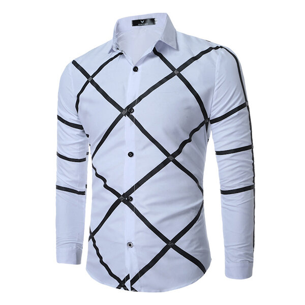 Mens Geometric Printing Fashion Casual Long Sleeve Lapel Shirts - 4