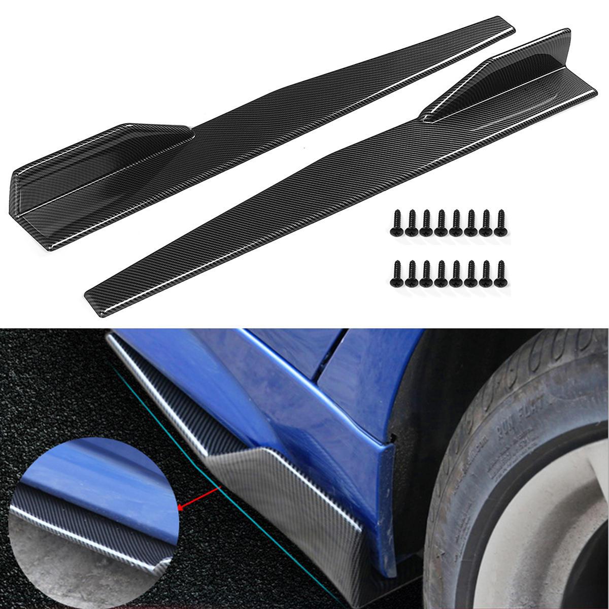 Par Carbon Fiber Modifierad Bil Sidokjol Rocker Splitters Diffuser Winglet Wings Bumper Protector 86CM Universal