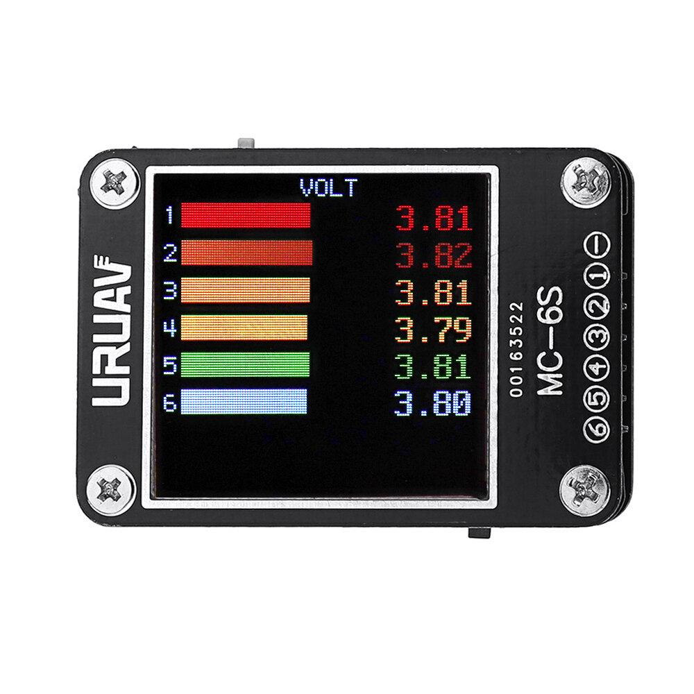 URUAV MC-6S 1-6S Lipo סוללה מתח בודק מקלט אותות אותות