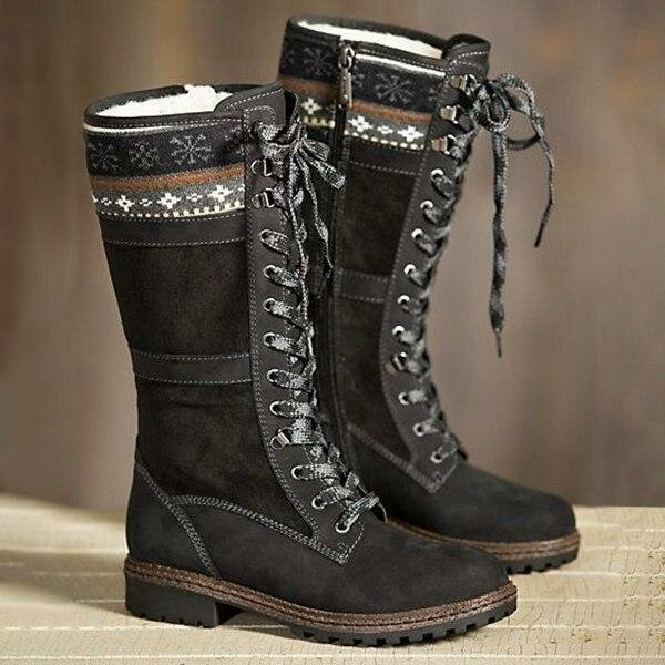 e6f222afe Large Size Winter Suede Warm Lace Up Zipper Mid-calf Boots - Black 10 COD