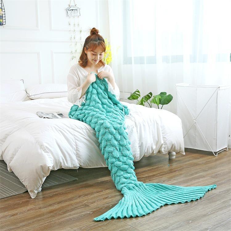 Mermaid Tail Blankets Yarn Knitted Handmade Crochet Mermaid Blanket Kids Throw Bed Wrap Super Soft Sleeping Bed - 6
