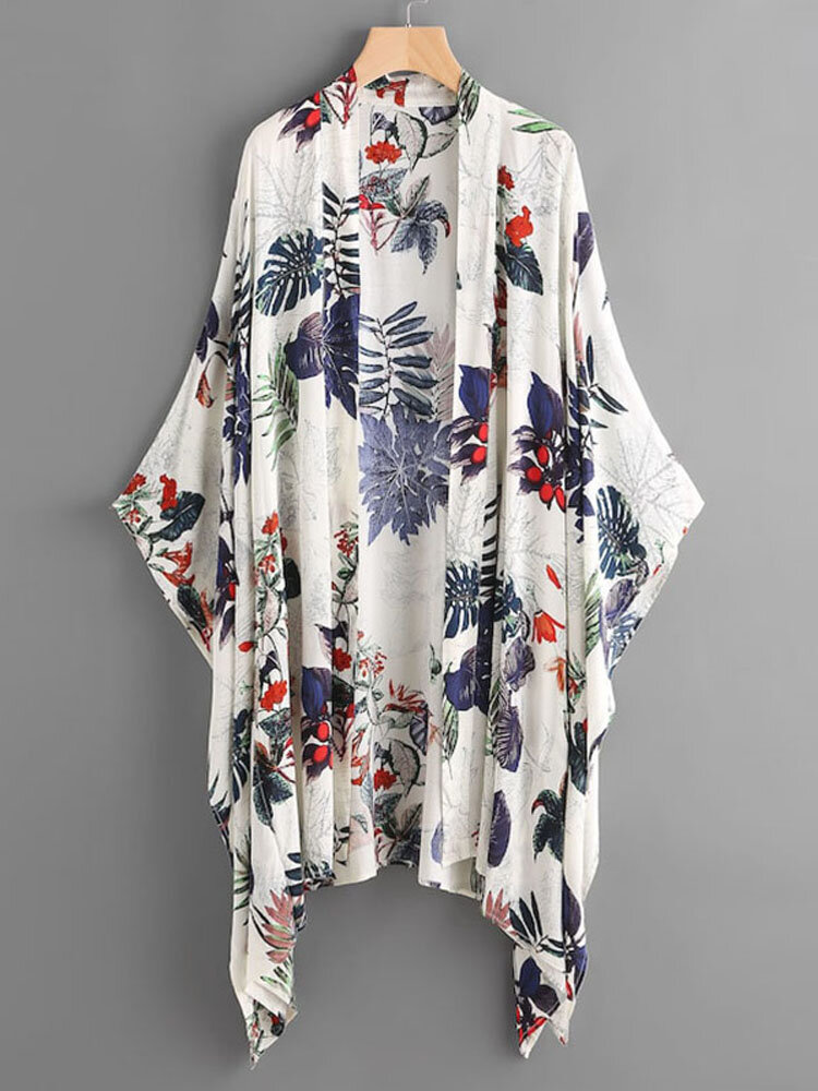 Women Summer Floral Print Loose Long Sleeve Irregular Hem Cardigans