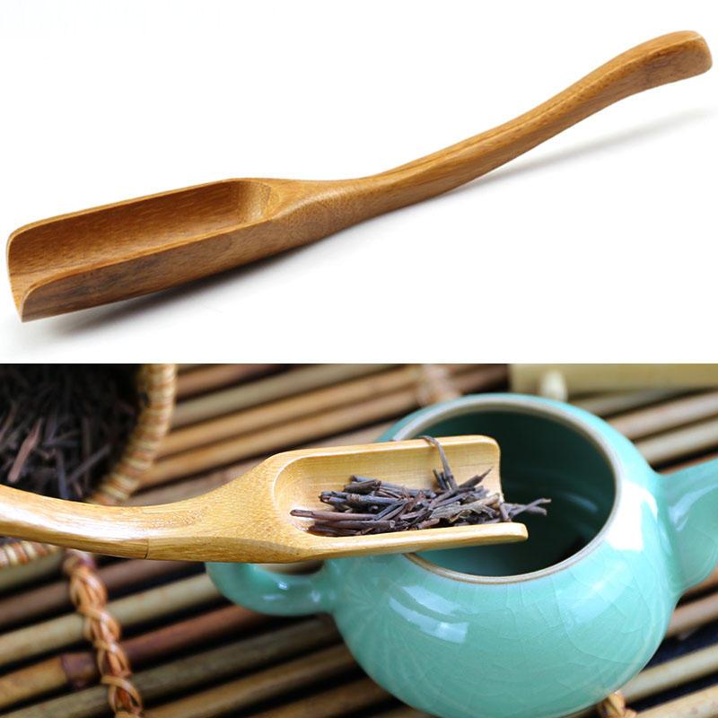 Cuchara de té de bambú té cuchara de té curvada hojas de té acessaries kungfu de medición