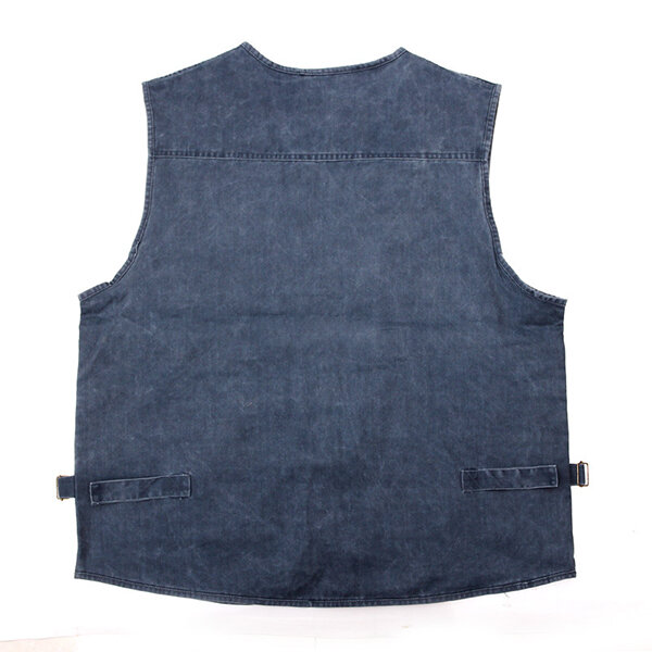 Mens Denim Multi Pockets Metal Zippers Breathable Hiking Outdoor Vest - 5
