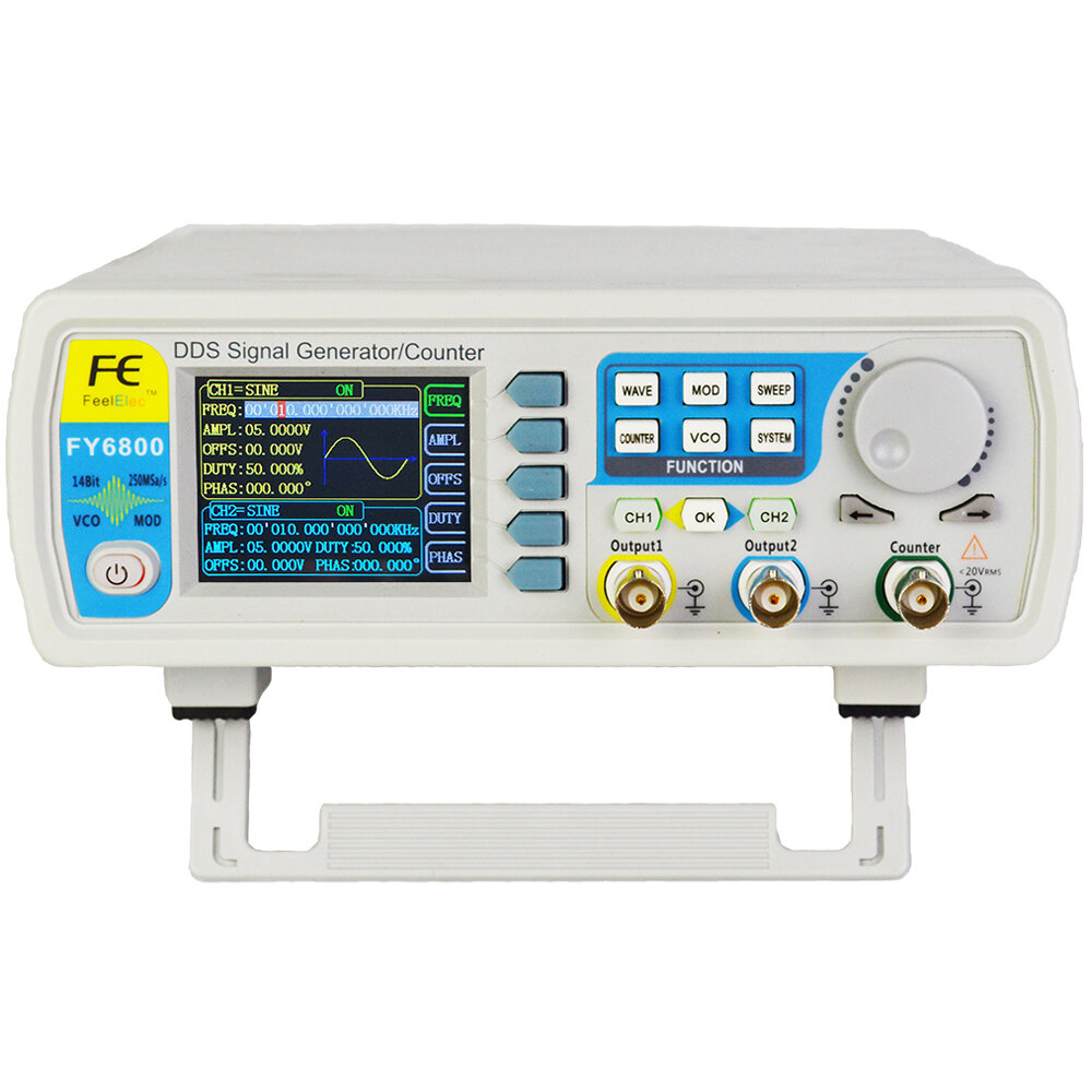 FY6800 2-Channel DDS Arbitrary Waveform Signal Generator 14bits 250MSa/s Sine Square Pulse Frequency Meter VCO Modulation