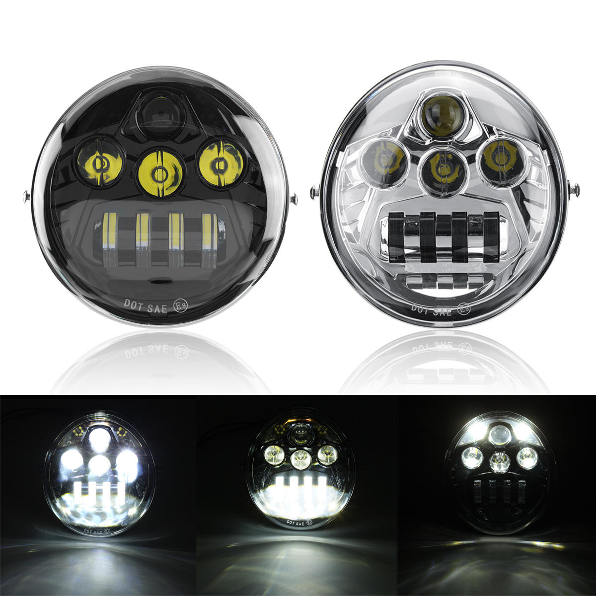 Wihtie + Amber W/ Side Light Pair 40W 4000LM 6500K Motorcycle LED Auxiliary Fog Spot Light Safety Driving Lamp Signal Light For BMW R1200GS ADV - 2