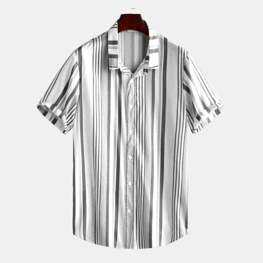 Mens Classic Fashion Summer Casual Short Sleeve Striped Shirts - 3