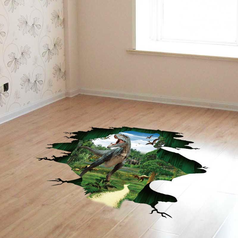Miico Creative 3D Dinosaur Impermeable Removable Home Room Decoración de puerta de pared decorativa