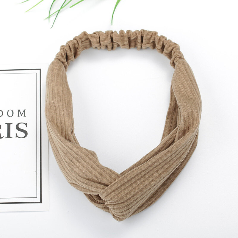 Women Girls Simple Style Knit Stripes Solid Color Headband Sports Yoga Casual Twisted Hair Band - 11