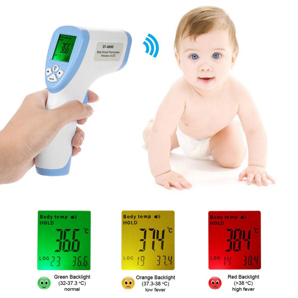 2019 Intelligent 8809C Senza contatto LCD IR Laser Temperatura digitale a infrarossi Termometro Neonato