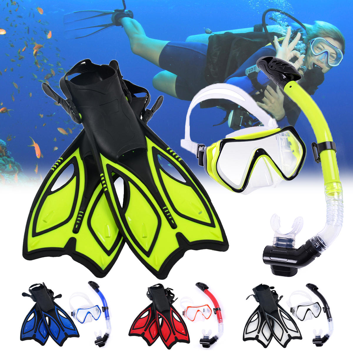 Diving Mirror Snorkeling Mask Rainbow Silicone Breathing - 1