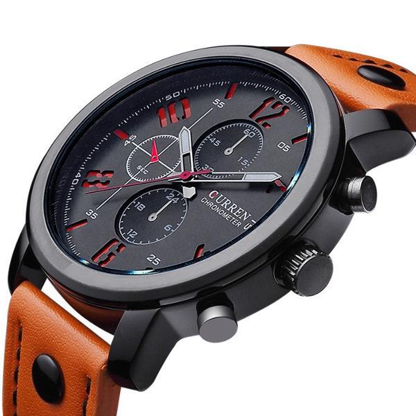 CURREN 8192 Fashion Leisure Sportsman Leather Black Alloy Analog Quartz Wrist Watch - 1