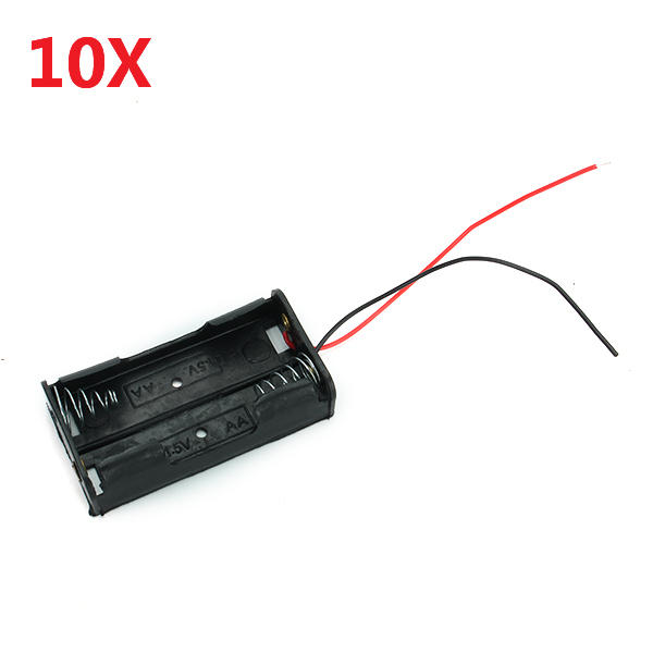 2X 1.5V AA Battery Holder Case Enclosed Box Dengan Kabel 10 pcs