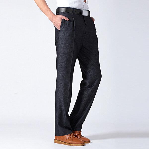 पुरुषों पोशाक पैंट फैशन आरामदायक सूट पैंट शुद्ध रंग पतला सीधे पतलून