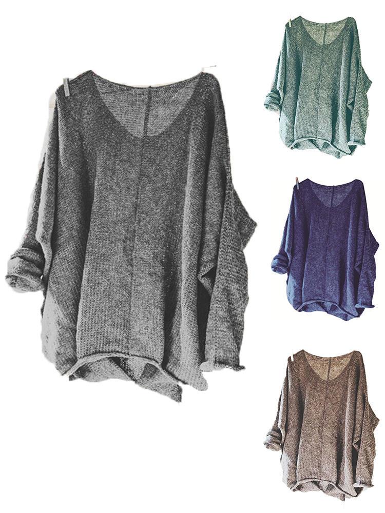 Phụ nữ áo len cổ chữ V thường đan