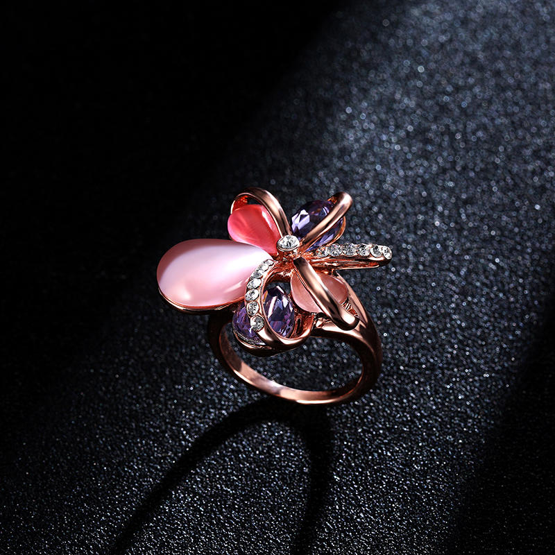 Stylish Pink Flower Opal Crystal Zircon Finger Ring Fine Jewelry for Women Clothing Accessories - 4