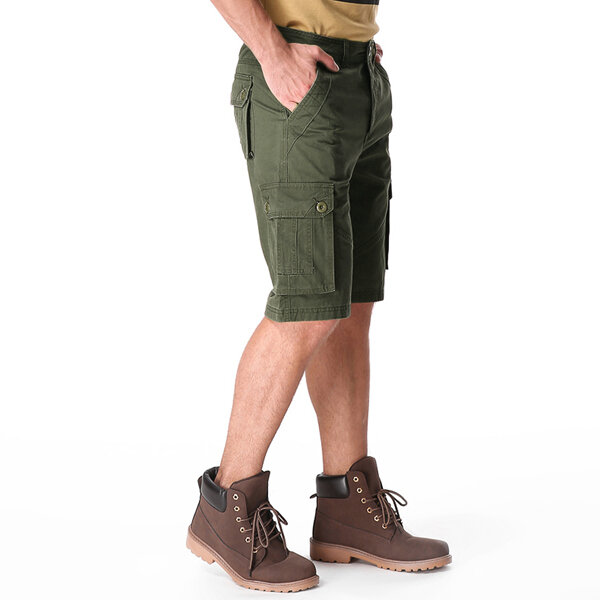 Spring Summer Mens 30-42 Casual Cotton Cargo Pants Loose Sports Outdoor Knee-length Shorts - 9