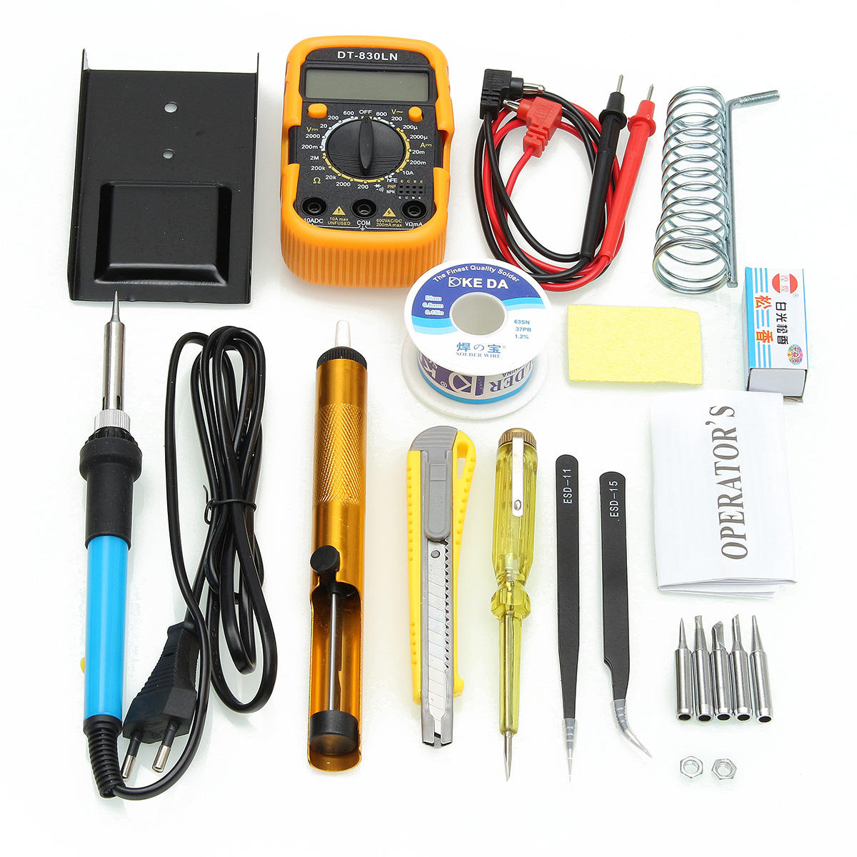 110V/220V 60W Solda de Temperatura Ajustável Ferro de Soldagem Kits Ferramenta de Multímetro