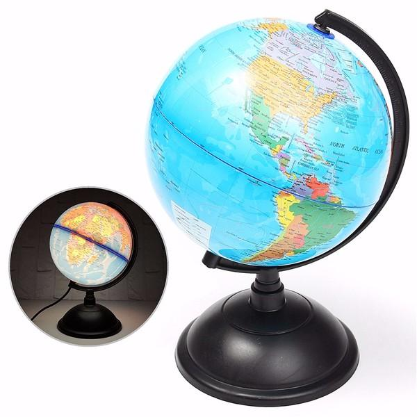 20cm LED World Globe Earth Tellurion Atlas Map Rotating Stand Geography Educational Toys Desktop Decorations