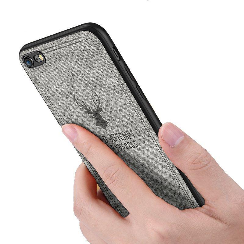 Vintage Anti Fingerprint Sweatproof Canvas+PC Protective Case For iPhone 6 Plus/6s Plus