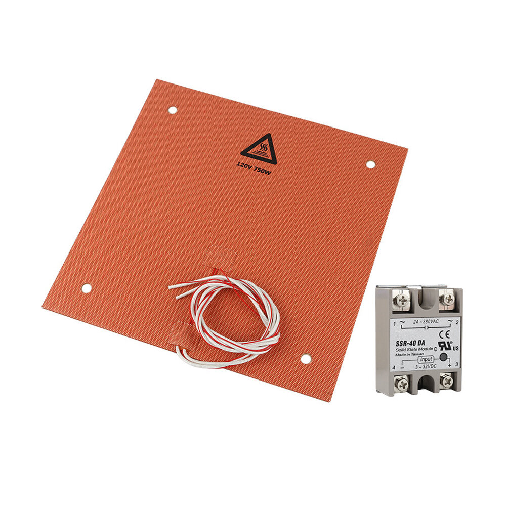310*310mm 120V 750W Silicone Heating Pad Heated Bed With Adhesive + SSR Relay DIY Kit for 3D Printer, Banggood  - buy with discount