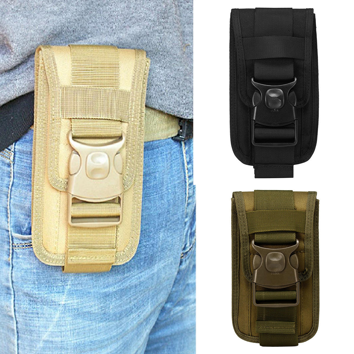 more photos 3c13c b6feb Outdoor Camping Tactical Cell Phone Bag Case Waist Pack Molle Belt Card  Holder Pouch