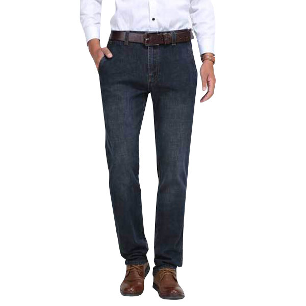Mens Mid Waist Cotton Straight Legs Outdoor Casual Jeans Solid Color Denim Pants - 1