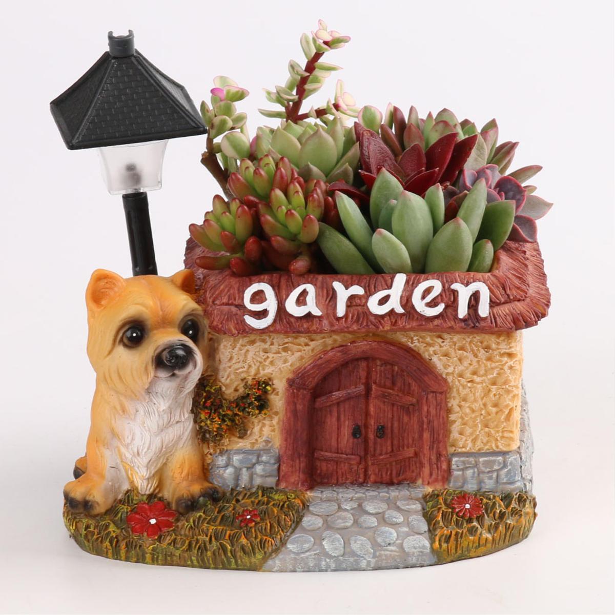 Led Cute Dog Succulent Flower Pot With Drainage Resin Small Flower Pot Garden Plants Pot Desk Flower Decoration