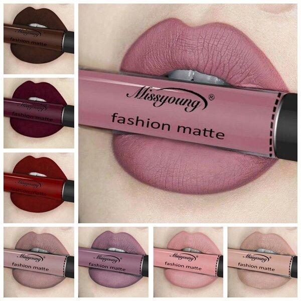 Missyoung Matte Lip Gloss Lip Lipstick Långvarig flytande kosmetika Överdriven smink