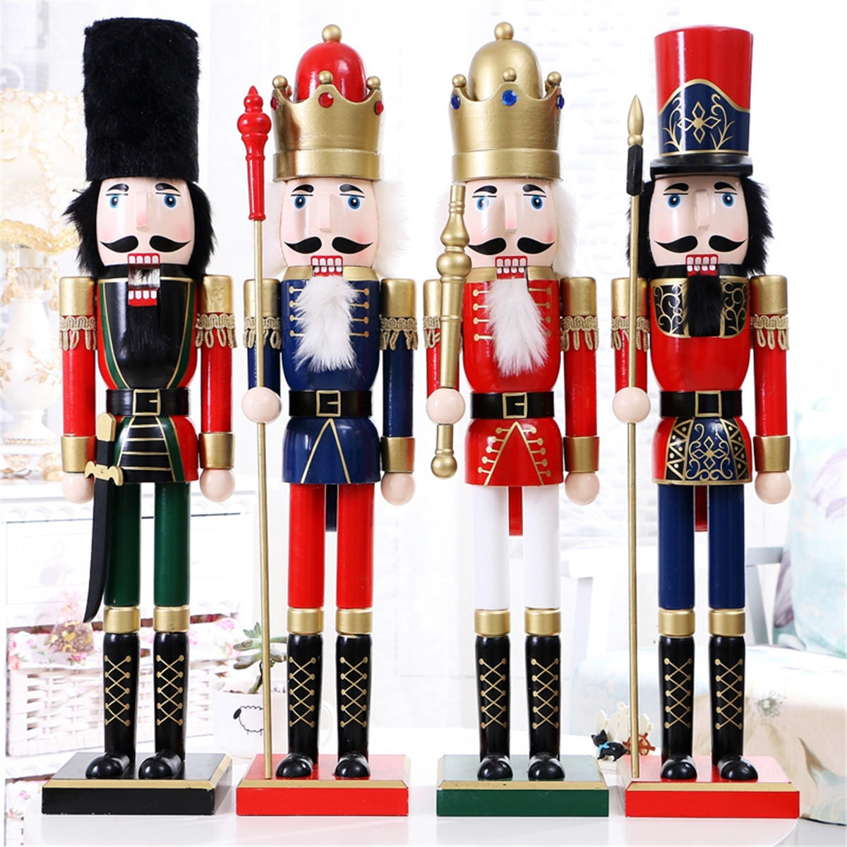 60cm Nut Cracker Soldier Christmas Decoration Nutcrackers Xmas Kitchen Wooden Doll - 4 COD