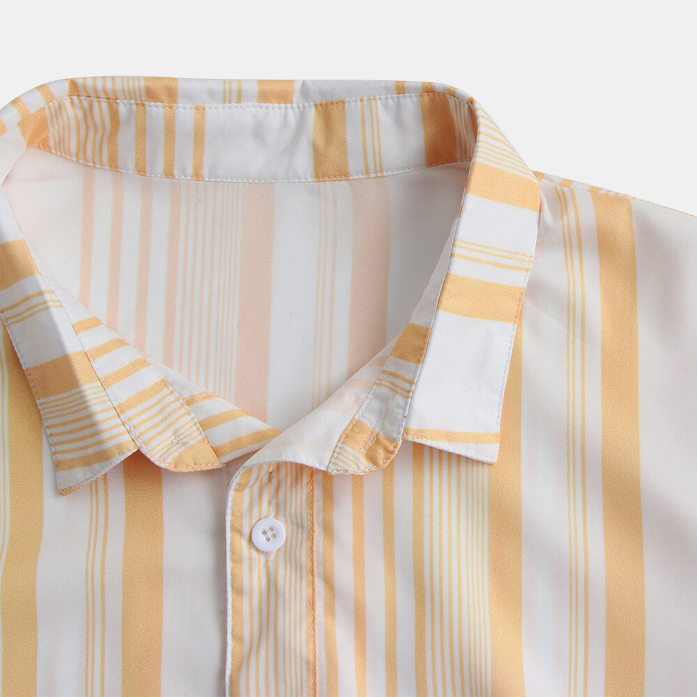 Mens Classic Fashion Summer Casual Short Sleeve Striped Shirts - 5