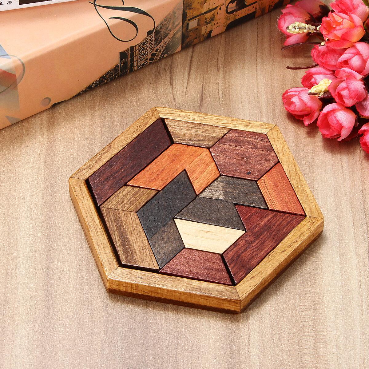 DIY 9PCS Wooden IQ Game Jigsaw Intelligent Tangram Brain Teaser Puzzle Kids Toys - 1