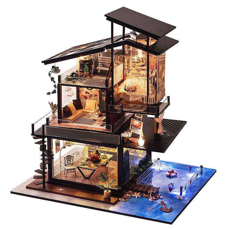 T Yu Dollhouse Diy Valencia Coastal Villa Doll House Miniature Furniture Kit Collection Gift