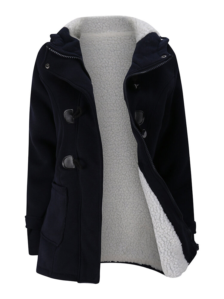 Women Long Sleeve Hooded Plaid Thick Coats - 6