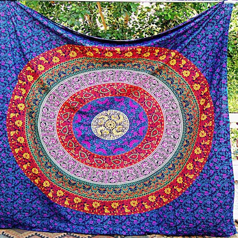 Honana WX-99 New 150x210cm Bohemian Style Polyester Fiber Beach Mat Tapestry Mandala Rectangle Bed Sheet - 12