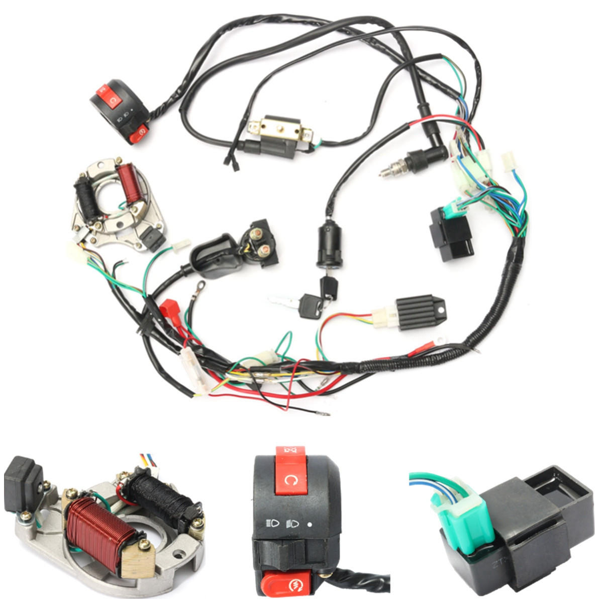 50cc 70cc 90cc 110cc CDI Wire Harness embly Wiring Kit ATV Electric Mad Dog Solenoid Wiring Diagram on