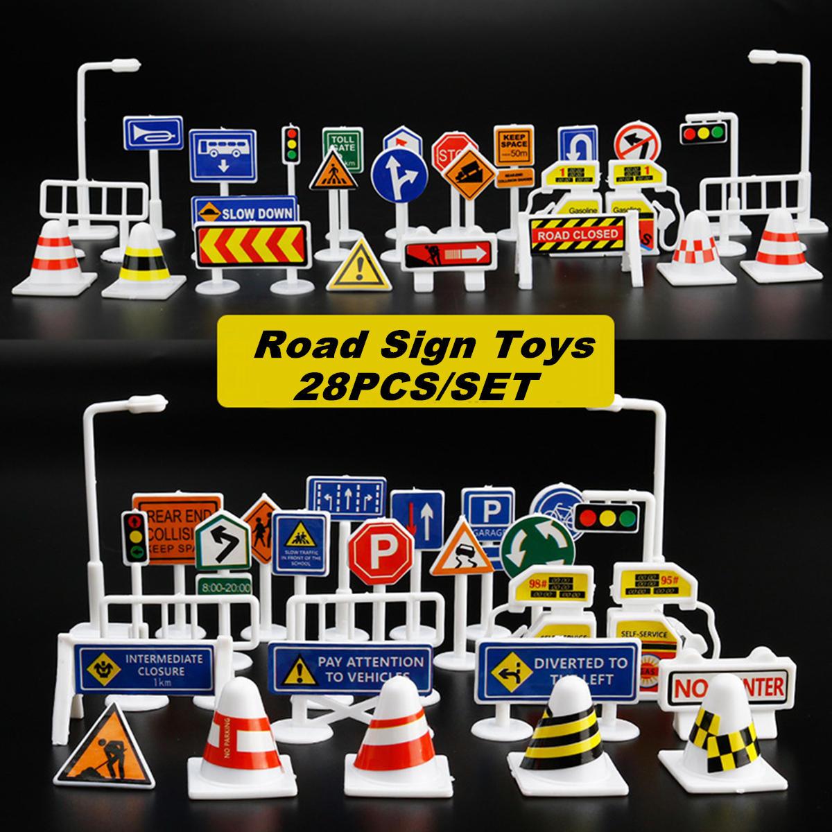 28 Cái Đồ chơi Xe cộ Giao thông Đường bộ Trẻ em Vui chơi Giáo dục Đồ chơi Trò chơi Phụ kiện Đồ chơi