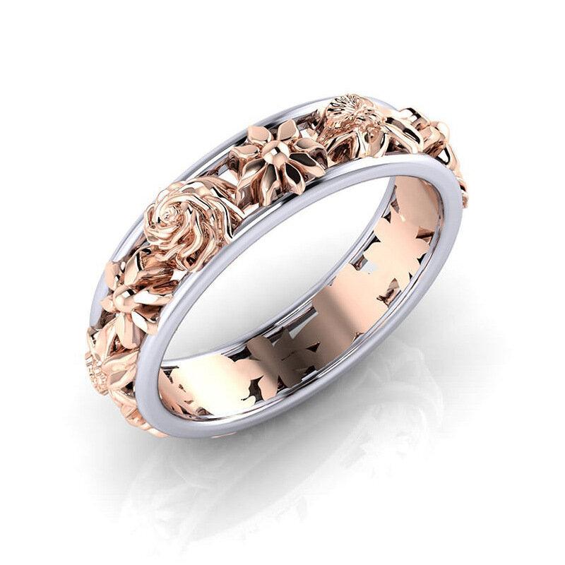Anillos de dedo dulces de la flor del oro de Rose Anillos de compromiso de hueco hueco de la moda Boda para Mujer