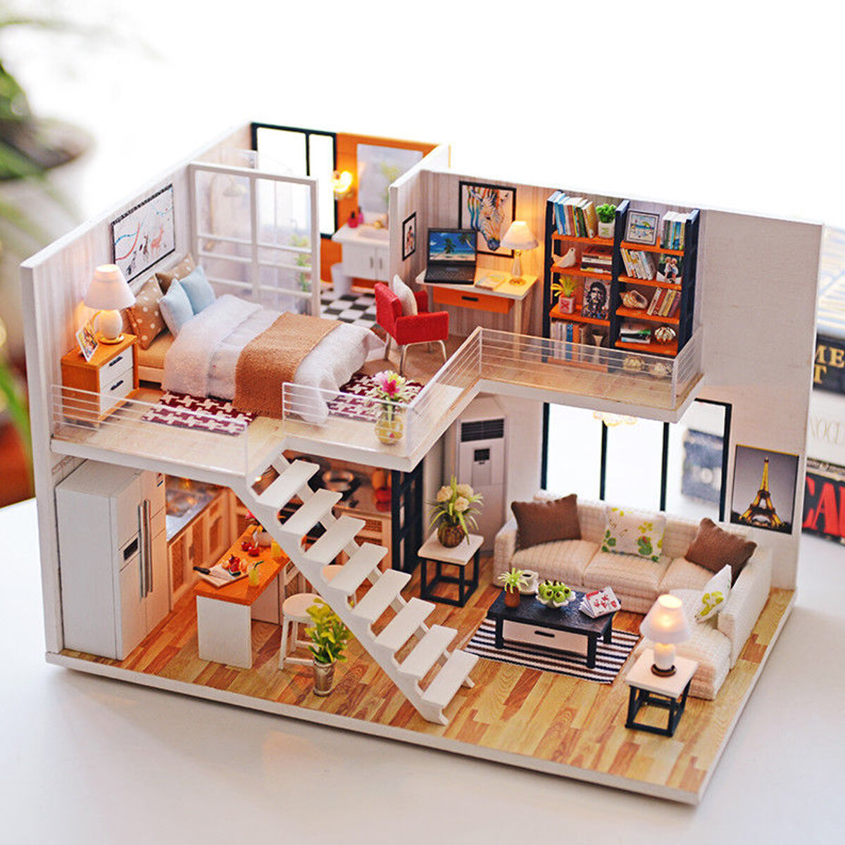 Loft Apartments Miniature Dollhouse Wooden Doll House Furniture Led