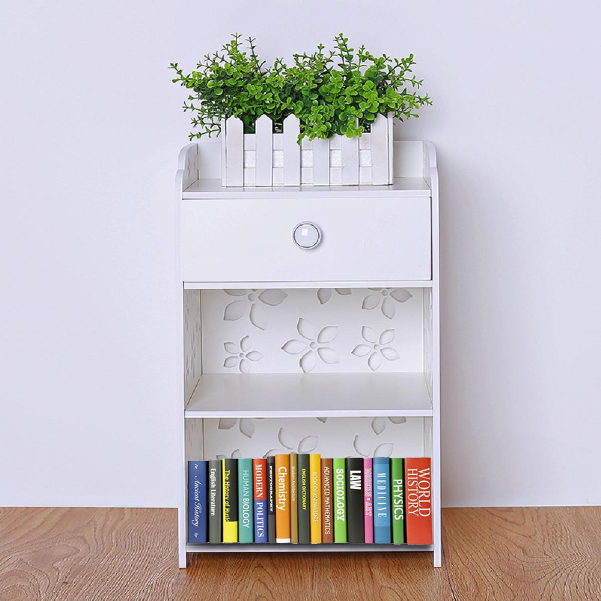 Modern White Flower Bedroom Bedside Table Rack Cabinet Organizer Night Stand