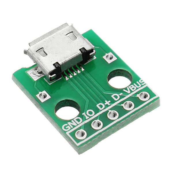 5pcs Micro USB To Dip Female Socket B Type Microphone 5P Patch To Dip 2.54mm Pin With Soldering Adapter Board