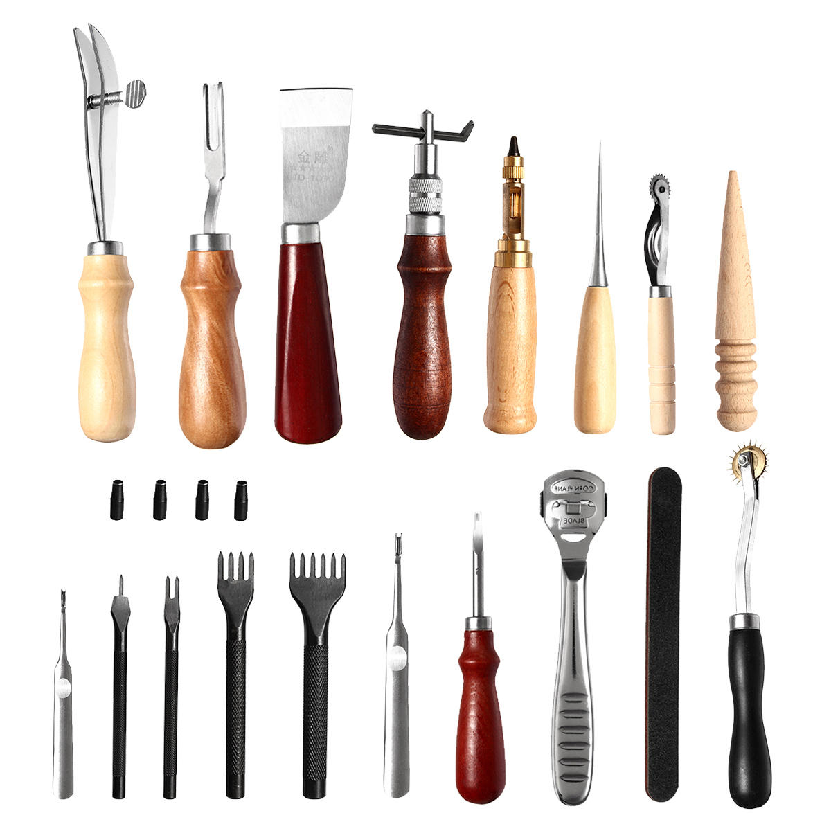 24 Pcs Leather Craft Tools Kit Hand Sewing Stitching Punch Carving Work Saddle - 1